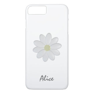 Single White Flower Custom Name iPhone 7 Plus Cae iPhone 7 Plus Case