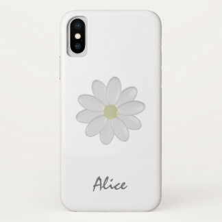 Single White Flower Custom Name iPhone X Case