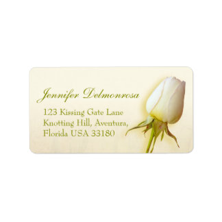 Single white rose bud wedding reply address label
