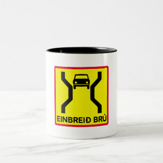 Single-Width Bridge, Traffic Sign, Iceland Two-Tone Coffee Mug
