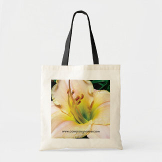 single yellow lily flower. budget tote bag