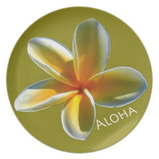 Single Yellow Plumeria Dinner Plate