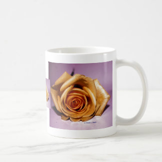 Single yellow rose contrasted against lilac back mug