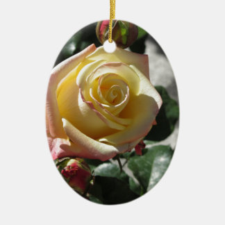 Single yellow rose flower in spring ceramic ornament