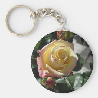 Single yellow rose flower in spring keychain