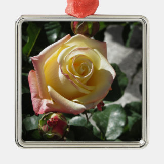 Single yellow rose flower in spring metal ornament
