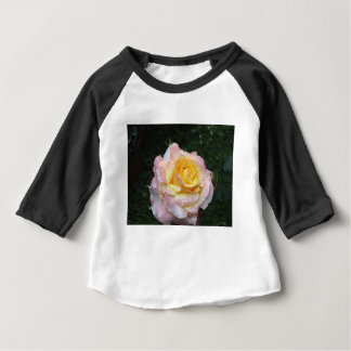 Single yellow rose flower with water droplets baby T-Shirt