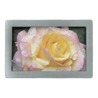Single yellow rose flower with water droplets belt buckle