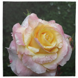 Single yellow rose flower with water droplets napkin