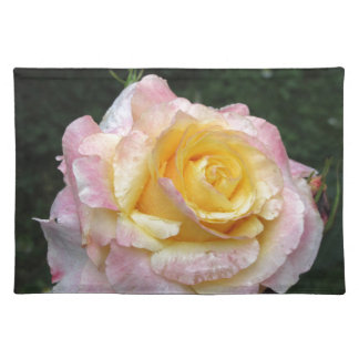 Single yellow rose flower with water droplets placemat