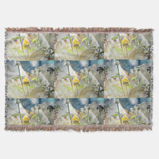 Single Yellow Rose in the Clouds Throw Blanket