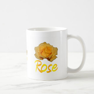 """Single yellow rose with """"Rose"""" in yellow & Orange Basic White Mug"""