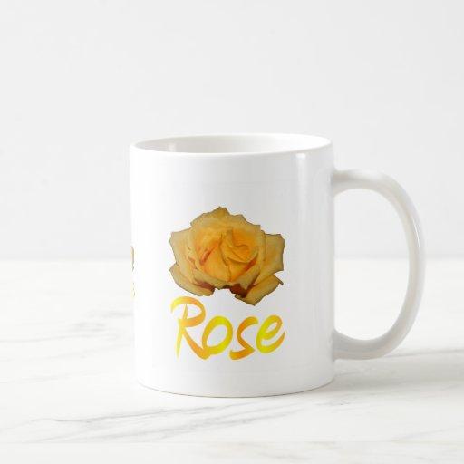 "Single yellow rose with ""Rose"" in yellow & Orange Mugs"