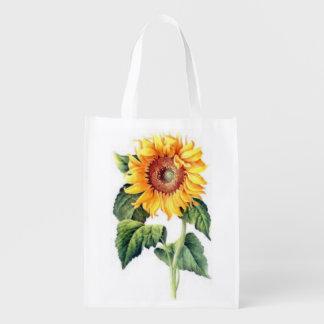 Single Yellow Sunflower Bloom Pretty Summer Flower Reusable Grocery Bag