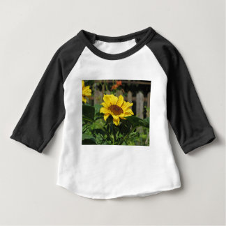 Single yellow sunflower with green leaves baby T-Shirt