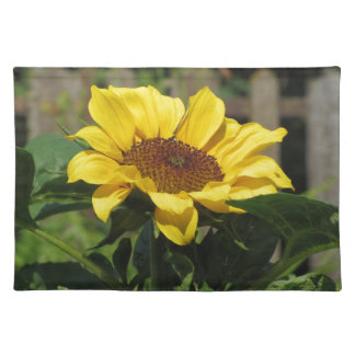 Single yellow sunflower with green leaves placemat