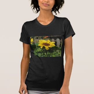 Single yellow sunflower with green leaves T-Shirt
