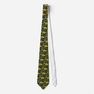 Single yellow sunflower with green leaves tie