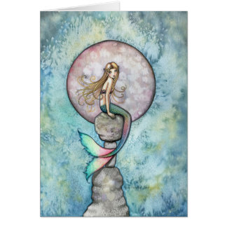 Sinking Moon Mermaid Card by Molly Harrison