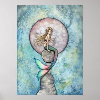 Sinking Moon Mermaid Poster Print
