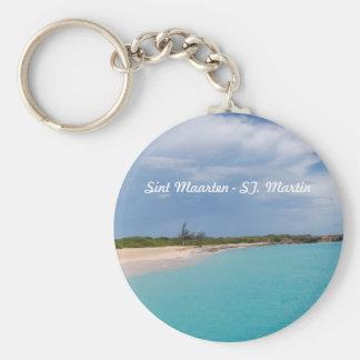 Sint Maarten - St. Martin Beach Scene Basic Round Button Keychain