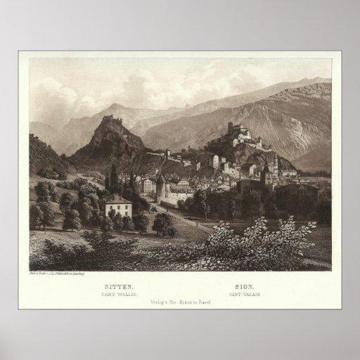 Sion en Suisse de copie antique Affiches
