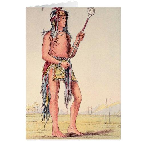 Sioux ball player Ah-No-Je-Nange Greeting Card
