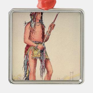 Sioux ball player Ah-No-Je-Nange Silver-Colored Square Ornament