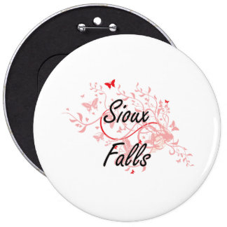 Sioux Falls South Dakota City Artistic design with 6 Inch Round Button