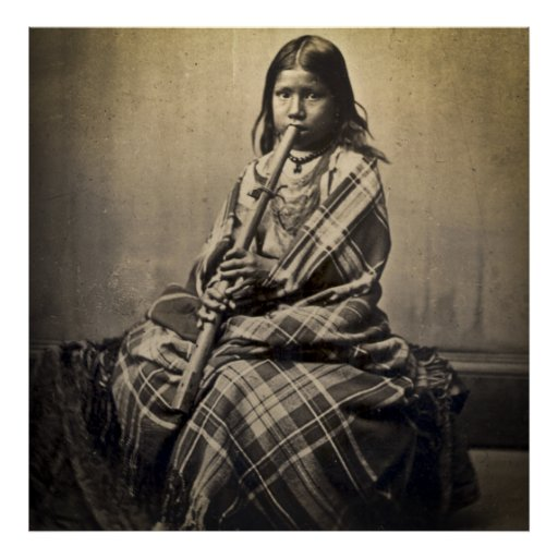 Sioux Musician Girl (Antique FInish) Poster