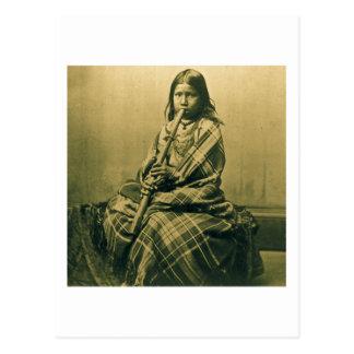 Sioux Musician Girl Sepia Postcard