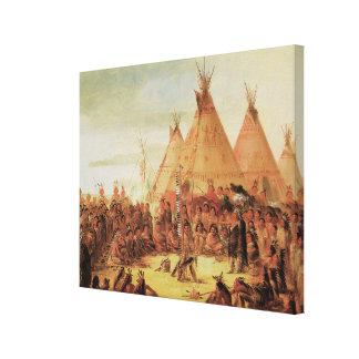 Sioux War Council, c. 1848 Stretched Canvas Print