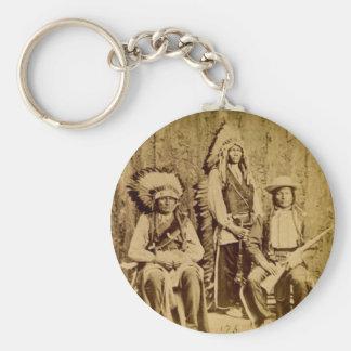 Sioux War Council Vintage Stereoview Basic Round Button Keychain