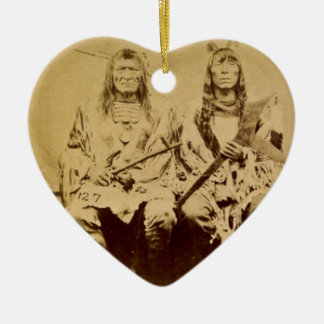 Sioux War Council Vintage Stereoview Ceramic Heart Ornament