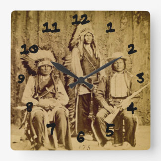 Sioux War Council Vintage Stereoview Clock