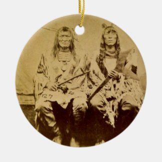 Sioux War Council Vintage Stereoview Round Ceramic Ornament