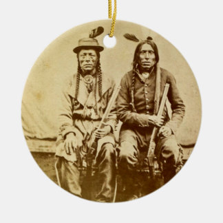 Sioux Warriors with Repeating Rifles Vintage Round Ceramic Ornament