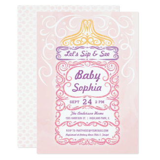 Sip and See Baby Bottle Girl Card