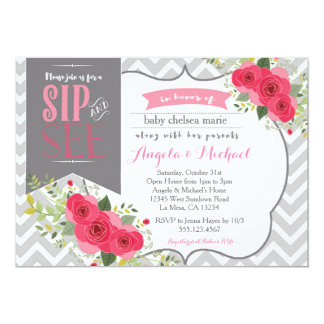 Sip and See Baby Girl Shower Invitation Pink