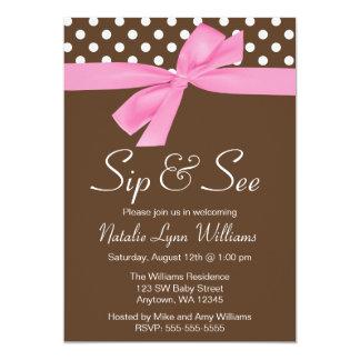 Sip and See Pink Brown Polka Dot Bow Card