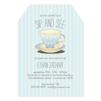 Sip and See Teacup in Blue Baby Boy Meet & Greet Card