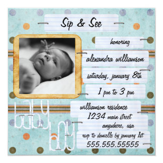Sip & See Baby Invitation
