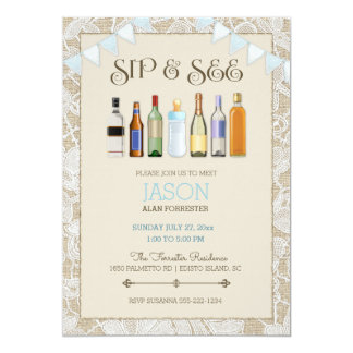 Sip & See Burlap Lace Bottles Blue Boy Bunting Card