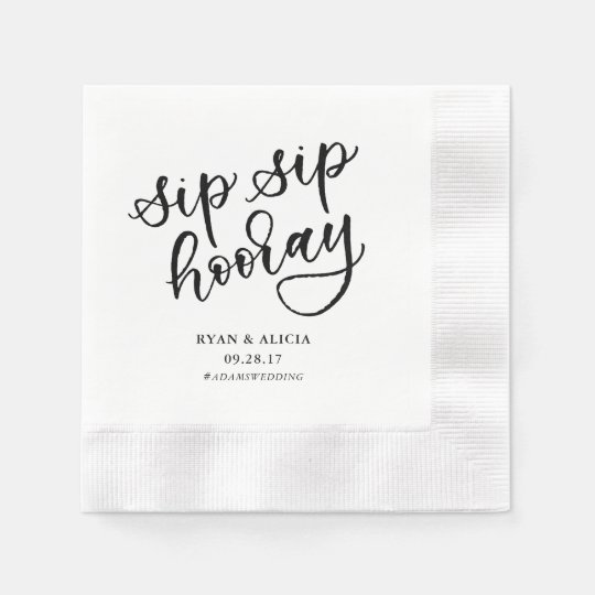 Sip Sip Hooray Personalized Napkin Paper Napkin