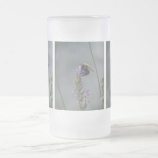 Sipping Bees,Small Violeta Flower, Garden Plants Frosted Glass Beer Mug