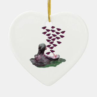 Sipping on Sunshine Ceramic Heart Ornament
