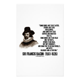 Sir Francis Bacon Books To Be Read Wholly Quote Customized Stationery