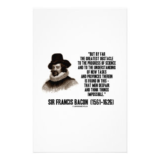 Sir Francis Bacon Obstacle Progress Of Science Stationery Paper