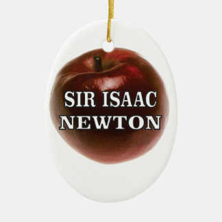 sir isaac newton apple ceramic oval ornament