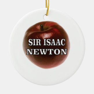 sir isaac newton apple round ceramic ornament